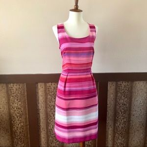 LOFT Bright Striped Dress w/ Hidden Pockets